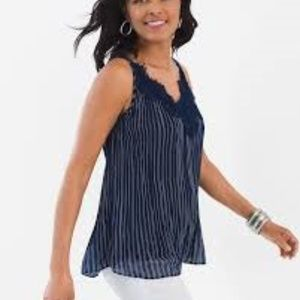 Chico's Convertible Tank Navy/White Size 3/XL